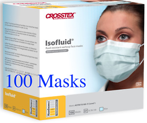 100 Level 1 Crosstex Isofluid® Made in USA Face Mask ASTM Blue Facemask GCIBL100