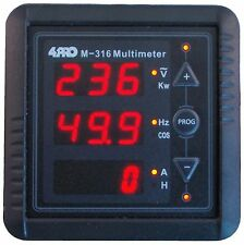 4PRO M-316 Multímetro digital, 1 Ph, V/A/Hz/KW/COS/T, 85-265VAC 50/60Hz