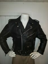 Black Heavy Leather Motorcycle Biker Jacket Sz Mens 40 See Description