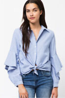 S-L Women's Ruffled Sleeve Button Down Shirt Striped Blouse Work Career Blue Top