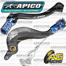 Apico Black Blue Rear Brake & Gear Pedal Lever For Yamaha WRF 450 2012-2015 MX