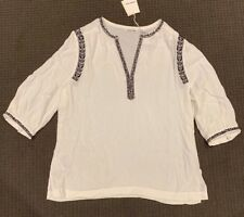 NWT COUNTRY ROAD Antique White Summer Pop Over Shirt/Top Sz M/12-14 $139 NEW