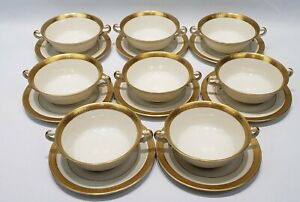 SET OF 8 SYRACUSE OLD IVORY BRACELET GOLD RIM DOUBLE HANDLE FOOTED SOUP BOWLS