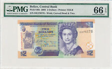 BELIZE 2 DOLLARS 2005 PICK# 66b - PMG 66 GEM UNC EPQ