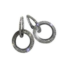 Platinum Filled Sterling Silver & Black with Diamond Sparkly Crystal  Earrings