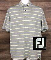 FootJoy FJ Men's Gray & Yellow Striped Short Sleeve Golf Polo Casual Shirt M