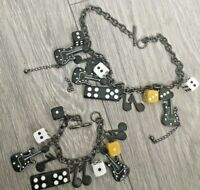 GUITAR Dice & DOMINO Very Cool necklace & bracelet set Music Note Cute chunky