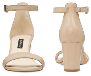 Nine West 'Pruce' Block Heel Sandals 'Light Natural Leather' Nude Beige Size 8