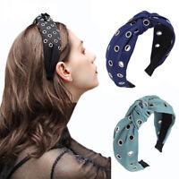Women's Hollow Tie Hariband Headband Knot Fabric Head Band Hair Hoop Accessories