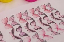 Butterfly Cupcake Topper 15pc Pink Edible Mixed Species Rose Easter Wings Mother