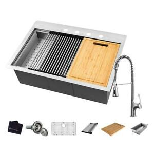 G.Bay All-in-One Drop-In Stainless Steel 32 in. 4-Hole 1-Bowl Kitchen Work. Sink