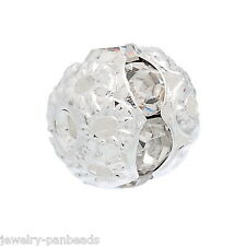 F1: 20 Metallperlen Rondelle Perlen Ball Beads Weiß Strass 8x8mm