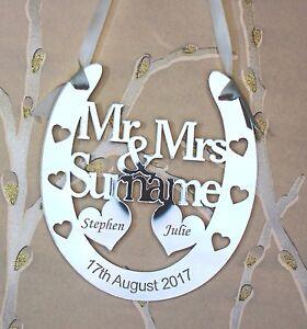 Personalised Mr & Mrs Wedding Horseshoe Keepsake,Bridal Gift **FREE GIFT BAG**