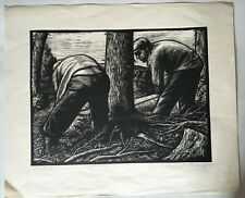 Jan Rambousek's wood engraving of Lumber-men in the Lusatian Mountain 1957