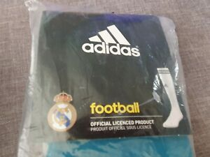 SIZE 4.5 - 6  BLUE RMCF REAL MADRID ADIDAS FOOTBALL SOCKS
