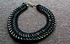 Nichii black glam chain collar necklace