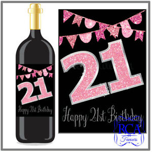 Single Number Birthday Sticker / Bottle Labels to fit wine style (6 designs)
