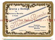 Unused 1940s URUGUAY Melilla Antonio Beretta e Hijos Moscatel Rosado Wine Label