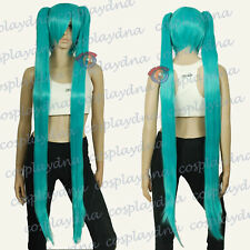 51 inch Heat Resistant Miku Green Cosplay DNA Wigs with Clip-on Ponytails ZB1200