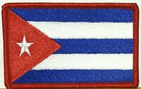 Cuba Flag Embroidered Iron-On Patch  Cuban Emblem Red  Border