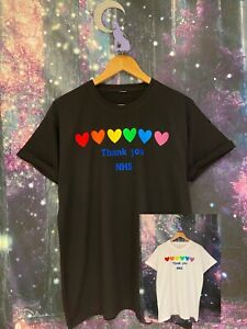 """VIOLET WOLVES """"THANK YOU NHS"""" RAINBOW HEARTS T-SHIRT FOR NHS CHARITIES TOGETHER"""