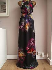 MONSOON HYDRANGEA BLACK VIBRANT FLORAL SILK MAXI PROM WEDDING OCCASION DRESS 10