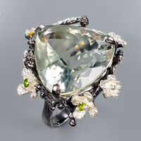Green Amethyst Ring Silver 925 Sterling 27ct+ IF Color AA Size 9 /R136133