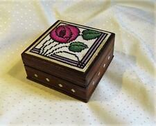 OLD SQUARE WOODEN TEAK(?)BOX INLAID - MacINTOSH CROSS STITCH ROSE