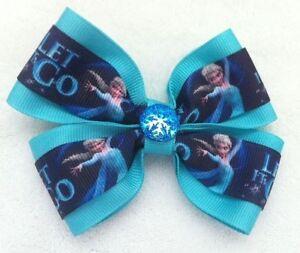 "Girls Hair Bow 4"" Wide Frozen Elsa Aqua Ribbon Blue Snowflake French Barrette"