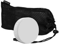 (12) Inglasco Official White Goalie Trainer 6oz Hockey Pucks in Mesh Carry Bag