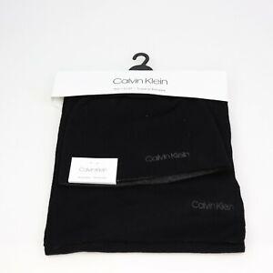 Calvin Klein Mens Black Hat & Scarf Set Reversible Gray HKS73093