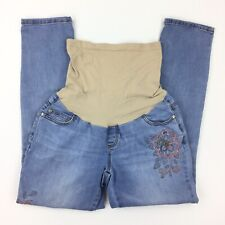 Indigo Blue Maternity Jeans Large Full Panel Ankle floral Skinny Distressed