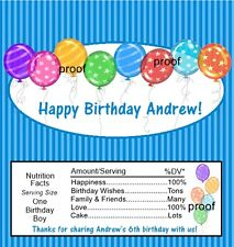 Balloon Birthday Candy Bar Wrappers Favors Blue