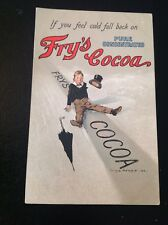 "FRY'S CHOCOLATE & COCOA  ANTIQUE  LITHO ADVERTISING POSTCARD ""FALL BACK ON"""