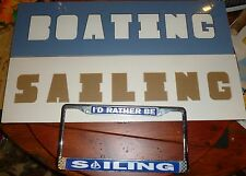 Lot/3: SAILING LICENSE PLATE HOLDER & 2 New SAILING & BOATING  PHOTO FRAMES 24""