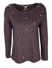 Ex White Stuff Floral Sequin Purple Stripe Long Sleeve Top Size 10 - 18 (P44)