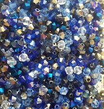 100 4mm Crystal Bicone Beads Blue Mix Tiaras  & Jewellery Making