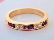 Diamond & Ruby ring 14k yellow gold princess-cut channel setting  band Size 7