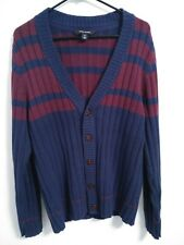 Adam Levine Mens Size Medium Blue Burgundy Striped Button Up Deep V-Neck Sweater
