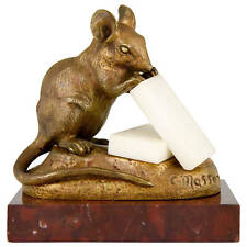 Antiques French bronze mouse with cheese by Clovis Masson, 1890