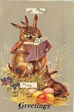 A77/ Easter Greetings Postcard c1980s REPLICA Reprint Mechanical Calendar 8