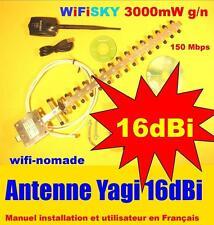 Carte Wifisky 3000 mW g/n 150 Mbps antenne 11 dBi + Yagi 16 dBi