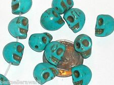 4pc. Tiny Skull Head skeleton Turquoise Beads lot Halloween jewelry making 8mm