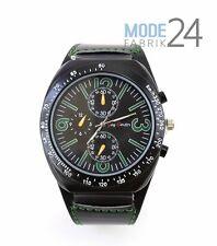 Herren Uhr Jay Baxter echt Lederarmband XL Watch Groß Grün Schwarz Chrono Look
