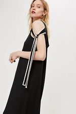 BNWT TOPSHOP BLACK ASYMMETRIC TIE SLEEVE MIDI DRESS BY BOUTIQUE SIZE 8