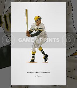 Roberto Clemente v1 Pittsburgh Pirates Baseball Illustrated Print Poster Art