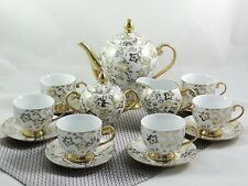 "Porzellan Tafelservice 15-tlg Porzellan Teeservice Kaffeeservice ""Goldserie"""