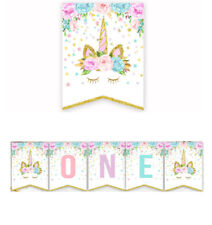 Unicorn Happy Birthday ONE Party Bunting Banner Baby Shower Supplies Decoration