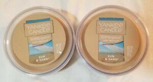 Yankee Candle Melt Cups Scenterpiece SUN & SAND 2.2 oz Lot 2 Brown Tropical Wax