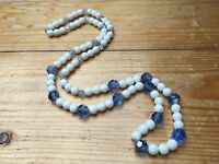 Vintage White Milk Glass & Blue Bead Necklace/Bobble Beads/Retro/1950's/60's